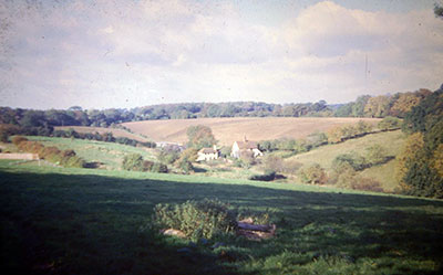 A view taken in the 1960s of   countryside near Henley   looking towards cottages.    Photo kindly provided by Roy Sadler.