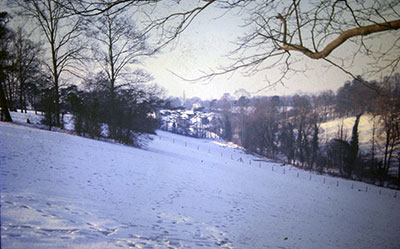 A view taken in the 1960s of snow covered   countryside near Henley  .     Photo kindly provided by Roy Sadler.