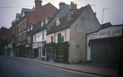 A view taken in the 1960s of shops along   Duke Street  .    Photo kindly provided by Roy Sadler.