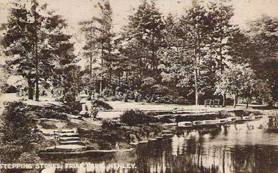 An old picture of the giant stepping stones in   Friar Park   from a 1920s postcard.