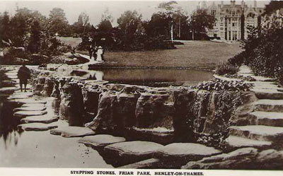 An old picture of the giant stepping stones in   Friar Park  .