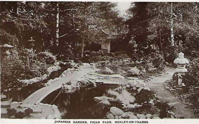 An old picture of the Japanese garden in   Friar Park  .