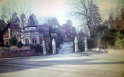 A view taken in the 1960s of the entrance to   Friar Park  .    Photo kindly provided by Roy Sadler.