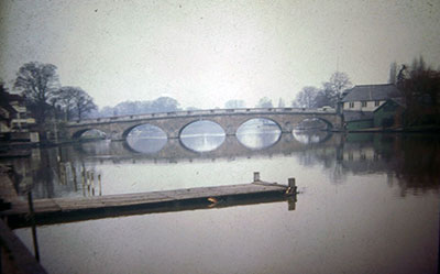 A view taken in the 1960s of   Henley Bridge   and the site to the right now occupied by the Henley Royal Regatta headquarters.    Photo kindly provided by Roy Sadler.