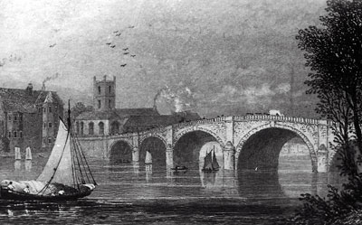 An old sketch of   Henley Bridge   with   Saint Mary's Church   in the background.