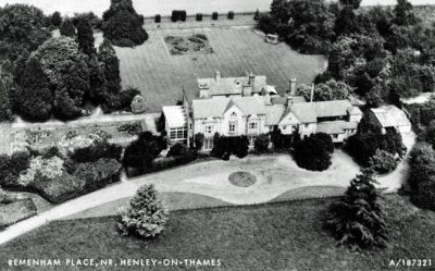 An aerial view of Remenham Place, a large house located near Henley.