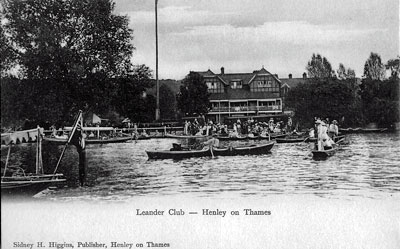 A lovely old view of Henley Regatta in full swing on the   River Thames   in front of the Leander Club.